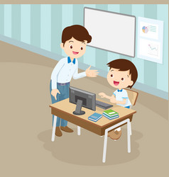 Teacher teaching computer to student boy vector