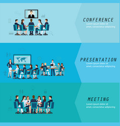 three horizontal set with business meeting vector image