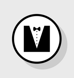 tuxedo with bow silhouette flat black vector image vector image