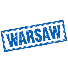 Warsaw blue square grunge stamp on white vector