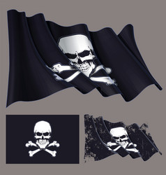 waving pirate flag skull and bones vector image