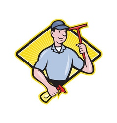 Window cleaner with squeegee vector