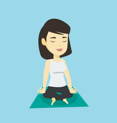 woman meditating in lotus pose vector image