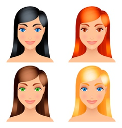 Women hair colors vector