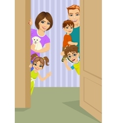 Happy family peeking behind door vector