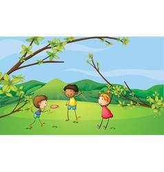 Two young boys and a young girl playing vector image