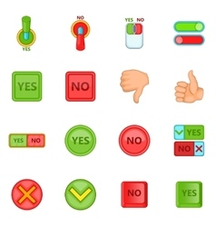 Yes no icons set cartoon style vector