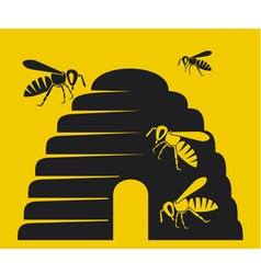 Bees and beehive icon vector