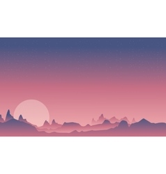 Mountain and moon beauty landscape vector