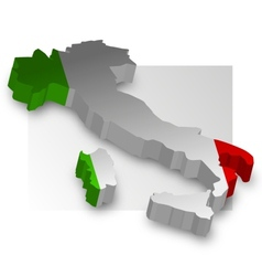 Three dimensional map of italy in flag colors vector