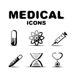 Black glossy medical icon set vector image