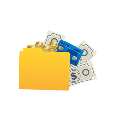 yellow file with money icon vector image