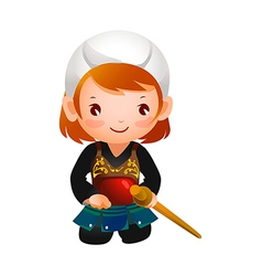 Portrait of a girl wearing kendo uniform vector