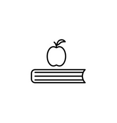 apple on the book icon vector image