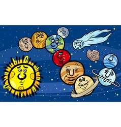 Solar system planets cartoon vector