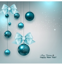 Christmas background with gifts and blue balls vector image