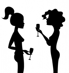 Women and wine vector