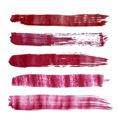Red watercolor brush strokes vector