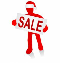 Man with christmas sale sign vector