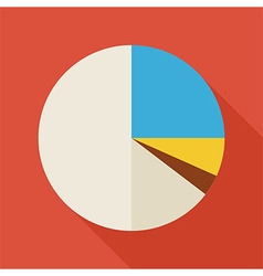 Flat business office statistic pie graph with long vector
