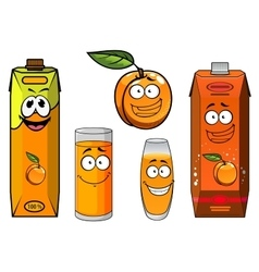 Cartoon apricot fruit juice and glasses vector