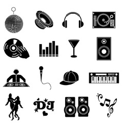 Dj music icons set vector