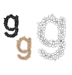 Floral alphabet lowercase letter g vector