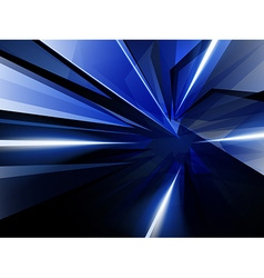Dark abstract background of blue luminous rays vector
