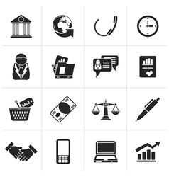 Black business and office objects icons vector