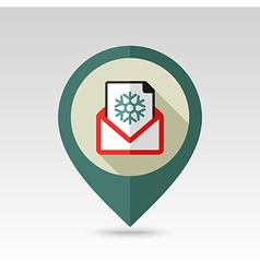 Christmas letter flat pin map icon vector