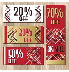 Golden red sale banner template in art deco vector