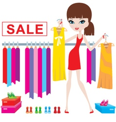 Clothes and footwear sale vector