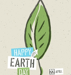 Happy earth day poster green leaf symbolic on the vector
