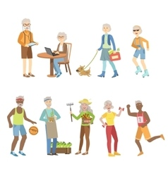 Active and modern old people vector