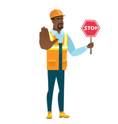 african-american builder holding stop road sign vector image