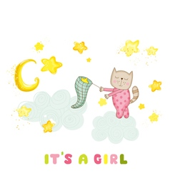 Baby girl cat catching stars baby shower card vector