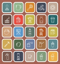 Barista line flat icon on brown background vector