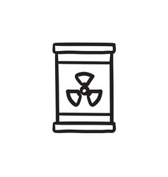 Barrel with ionizing radiation sign sketch icon vector