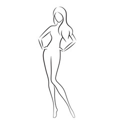 Beautiful slim nude young woman vector