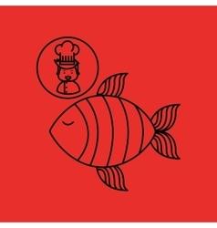 Cartoon chef gourmet fresh fish vector