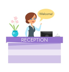 cartoon style of hotel receptionist vector image