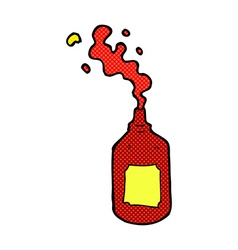 comic cartoon squirting ketchup bottle vector image