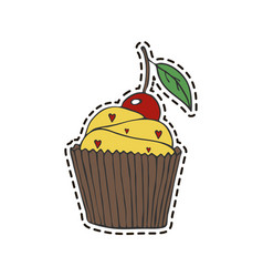 cupcake sticker vector image vector image