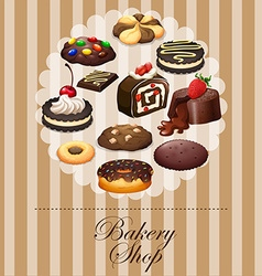 Diverse dessert on banner vector image vector image