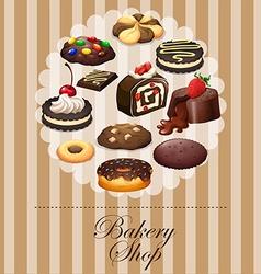 Diverse dessert on banner vector