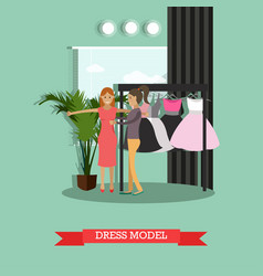 Dress model concept in flat vector