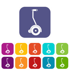 Electrical self balancing scooter icons set flat vector
