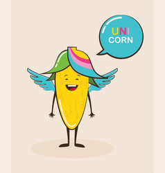 Funny magical corn character with funny quote vector