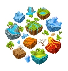 Gaming islands and landscape elements set vector
