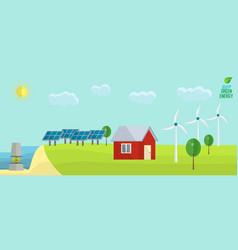 Green energy usage concept solar wind tide non vector